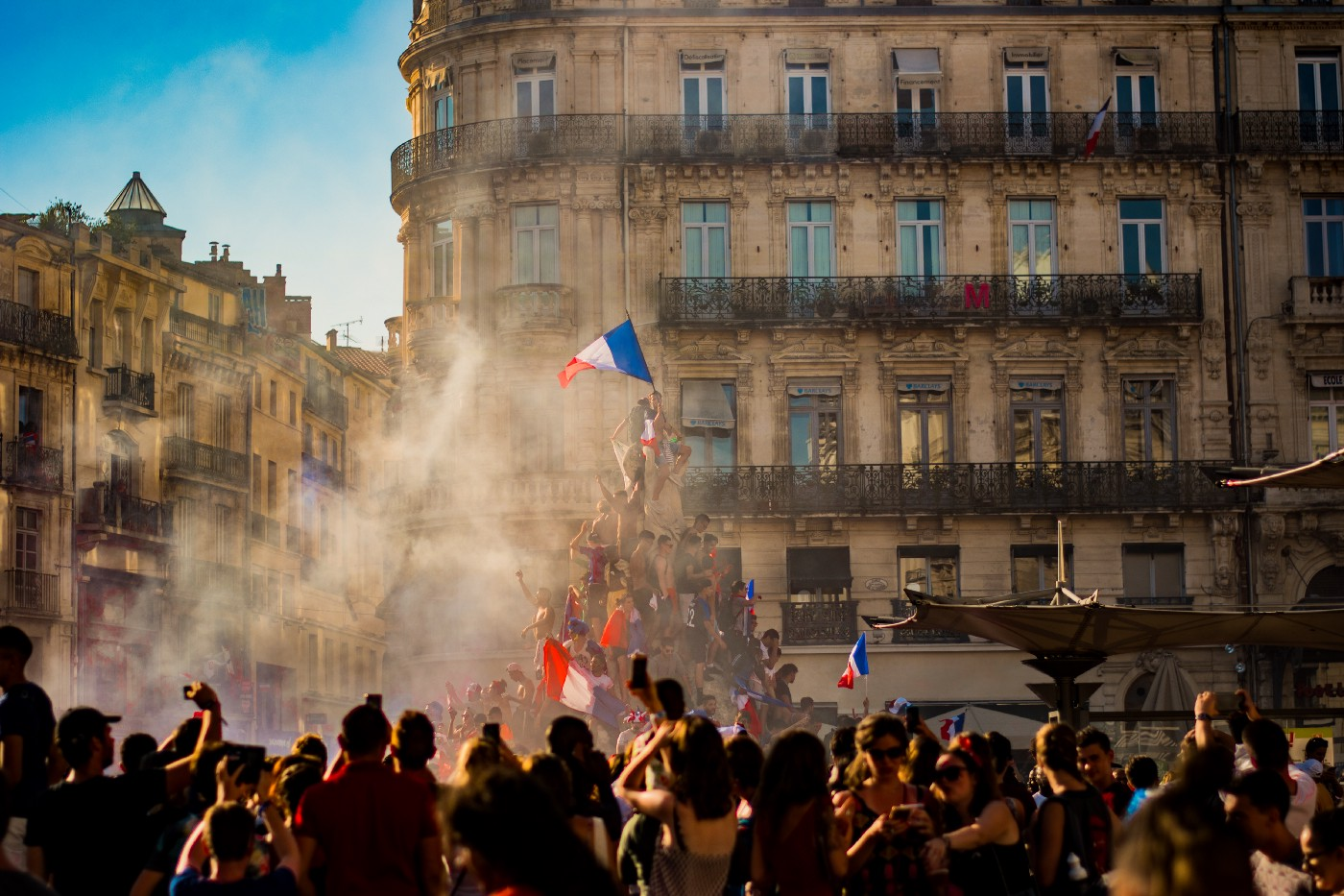 French citizens celebrating Bastille Day in the streets