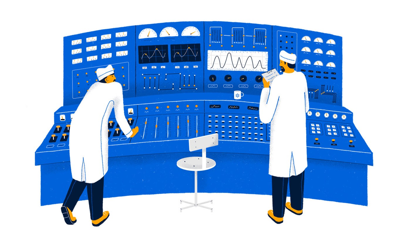 2 nuclear scientists trying to understand a control panel