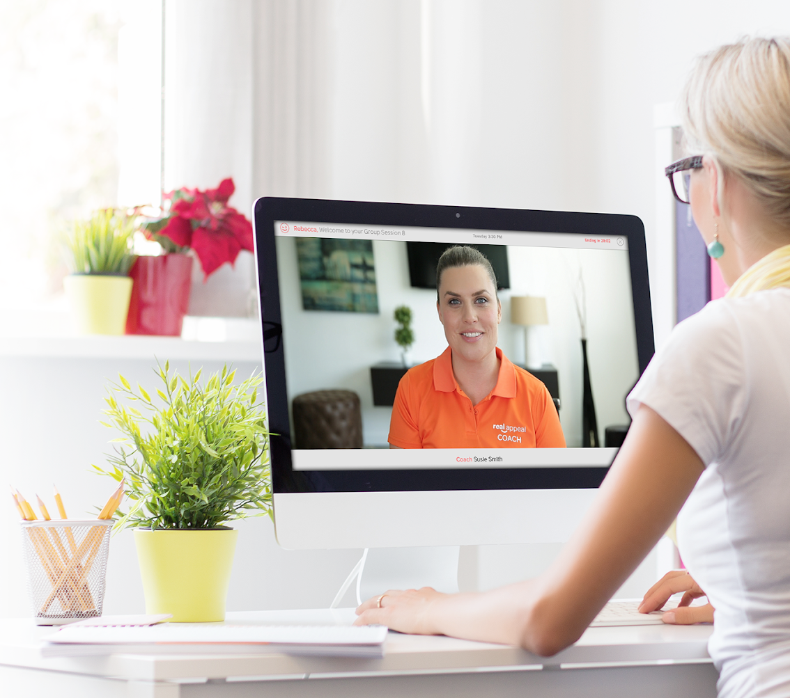 Real Appeal weight loss coach video chats with participant