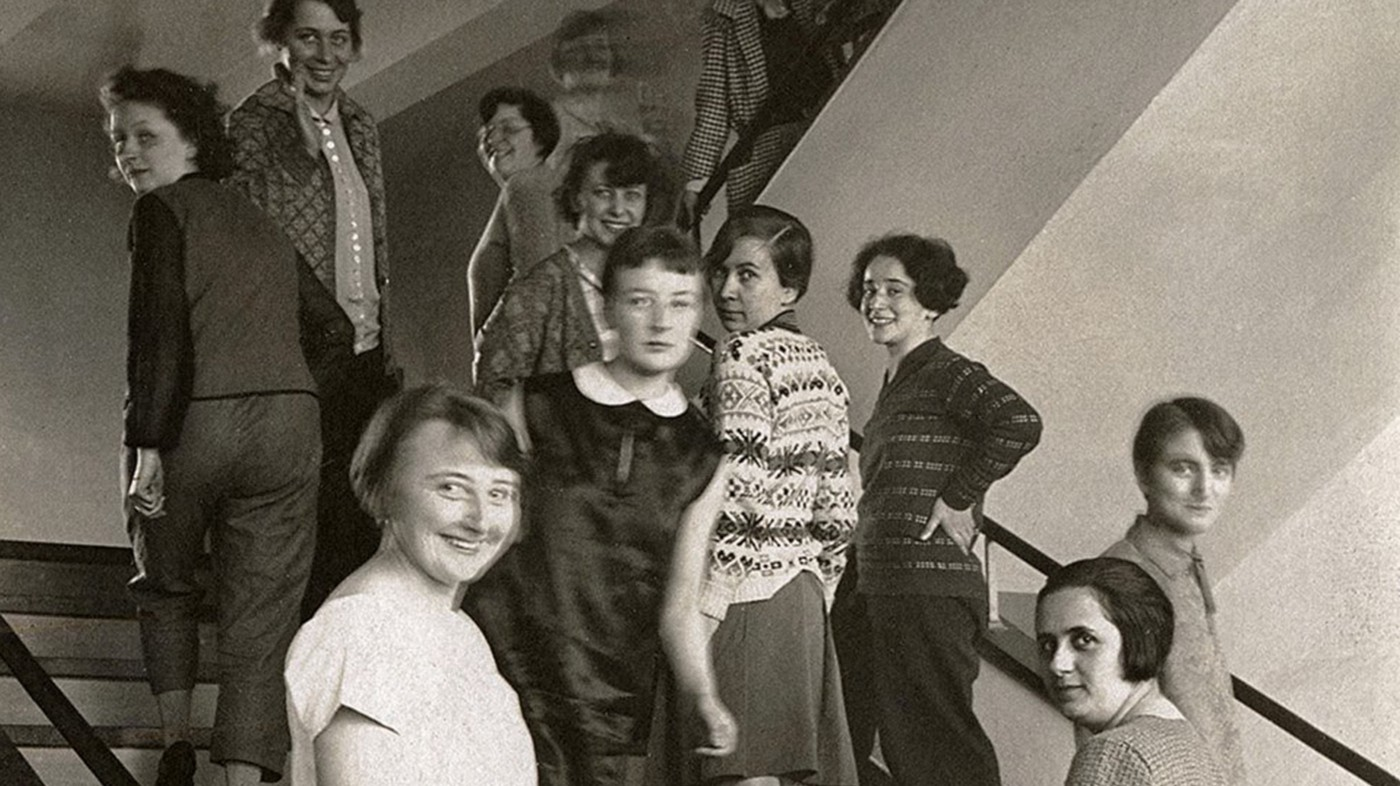 The women of the Bauhaus on the stairs in Dessau.