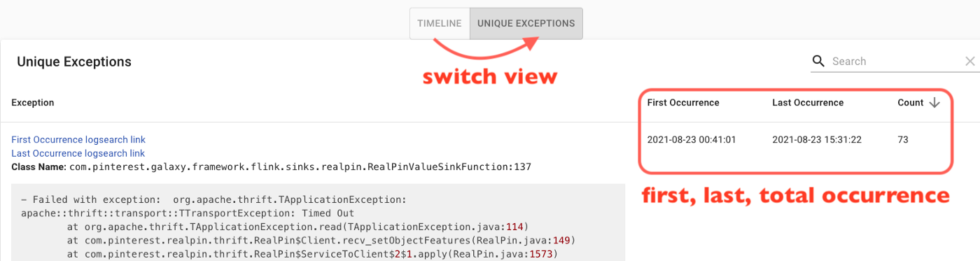 Unique exception view shows same exceptions in one row with its first, last, and total occurrence