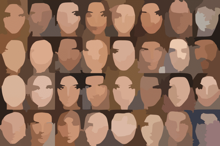 Several washed out faces of varying ethnicities with no discernable features
