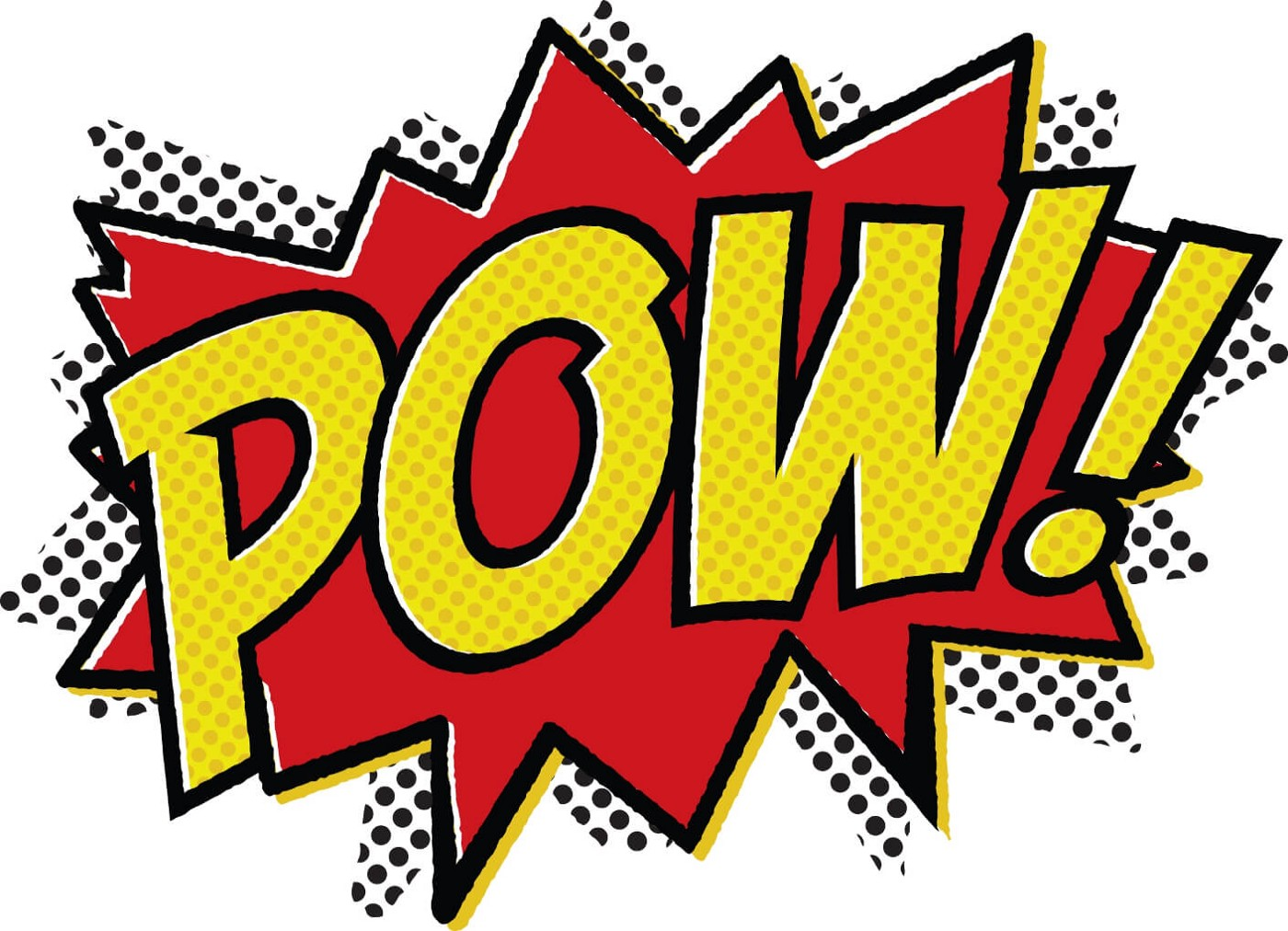 The word POW depicted as a cartoon.