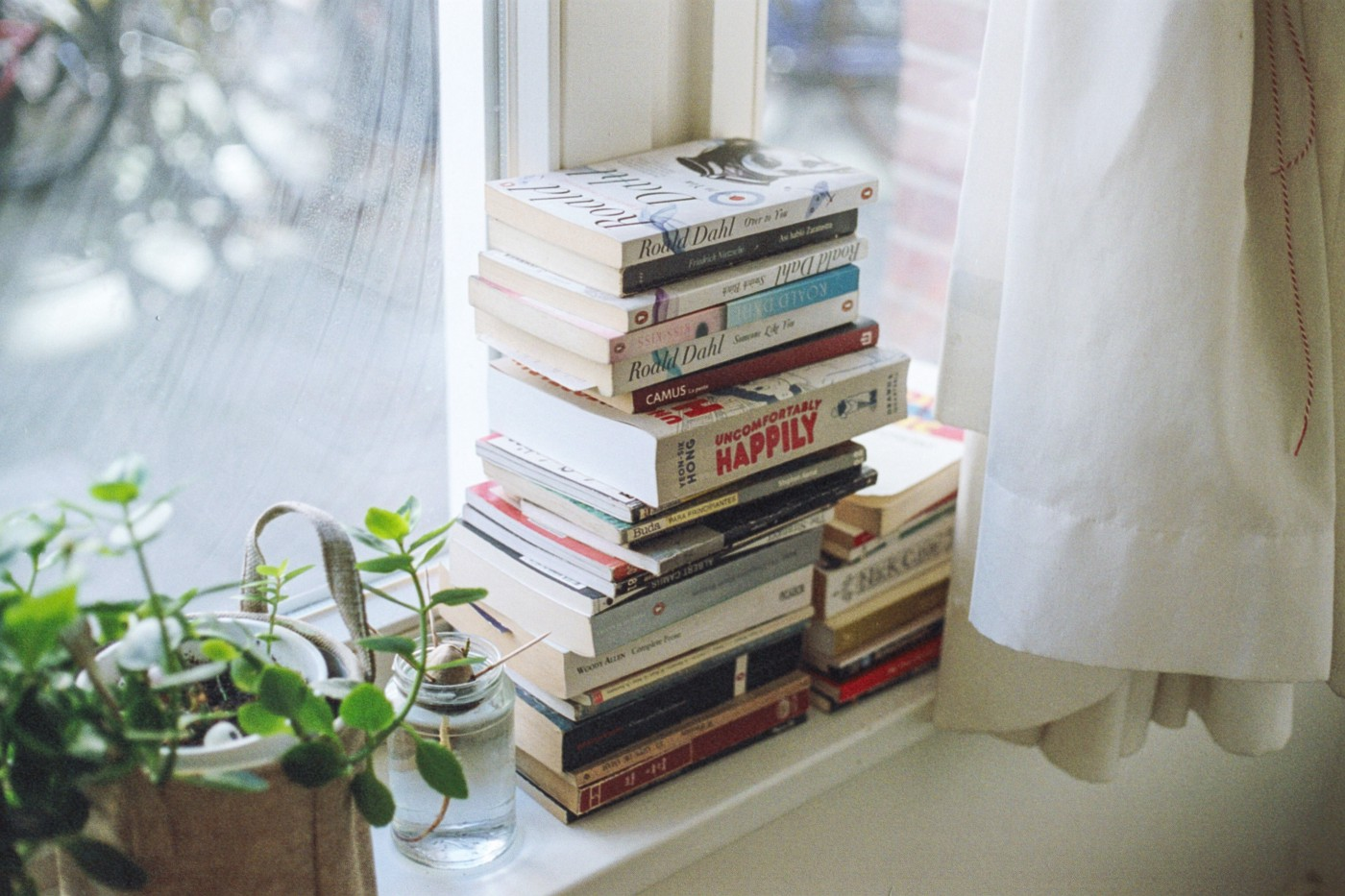 stack of books about writing on a windowsill