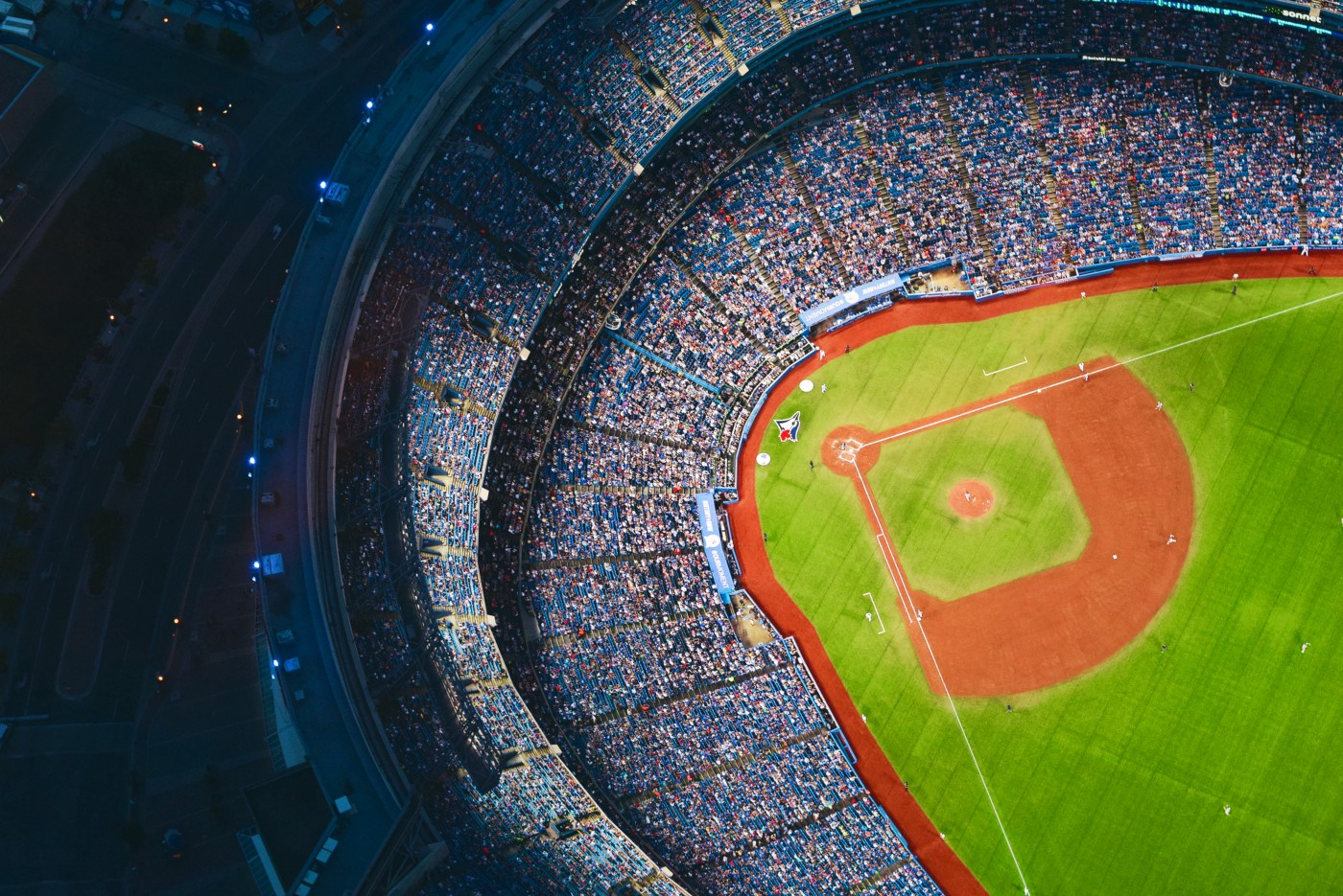 Stadium with a crowd for baseball