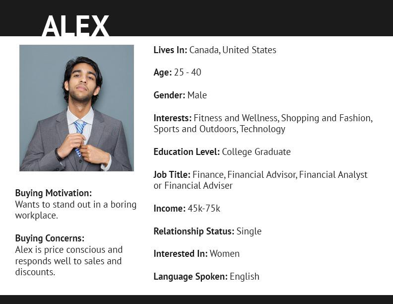 Customer persona example from Shopify, a profile shot of a man with demographic and psychographic information listed.