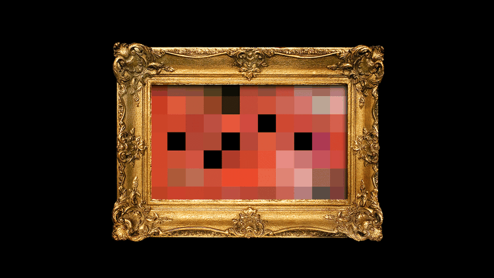 A blurry image made of very large red and black pixels displayed in an ornate gilded frame.