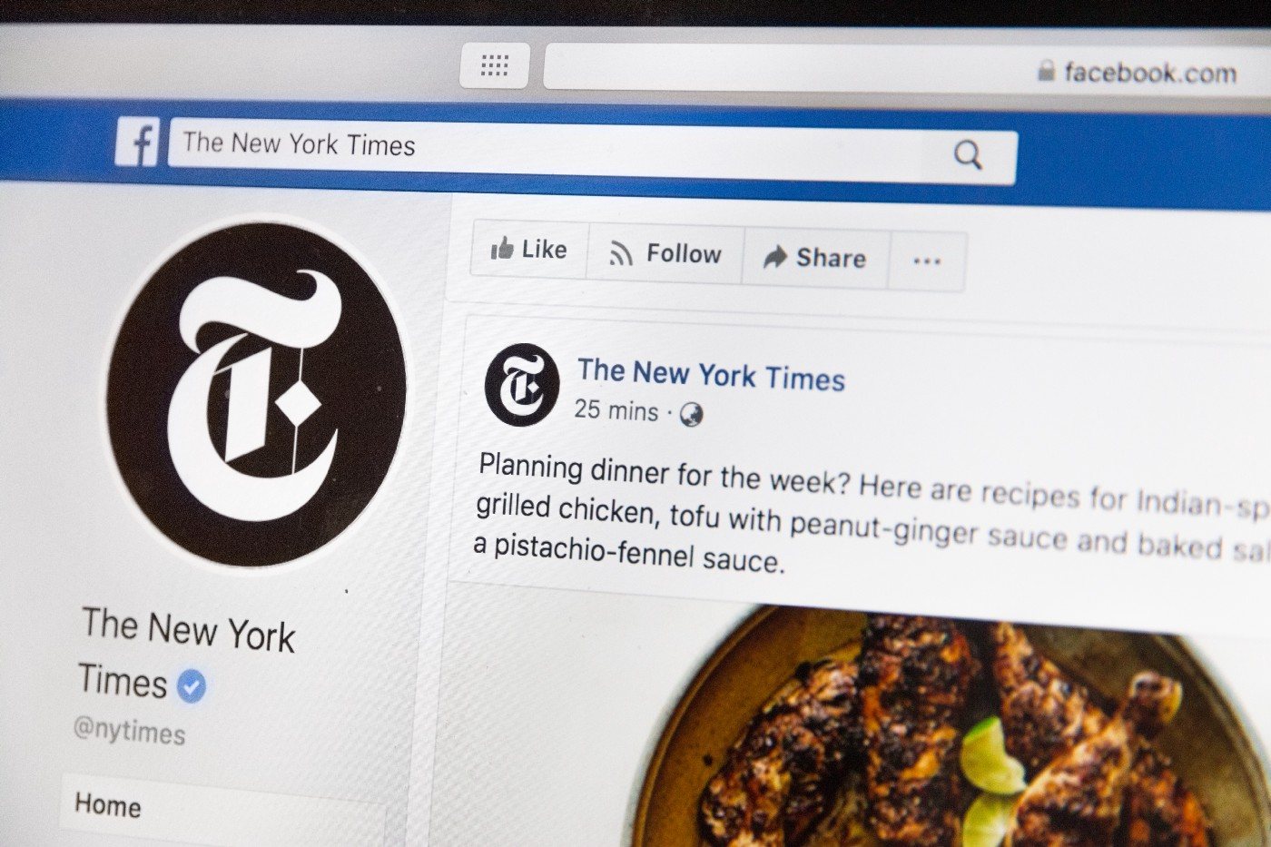Laptop open to New York Times page on Facebook.