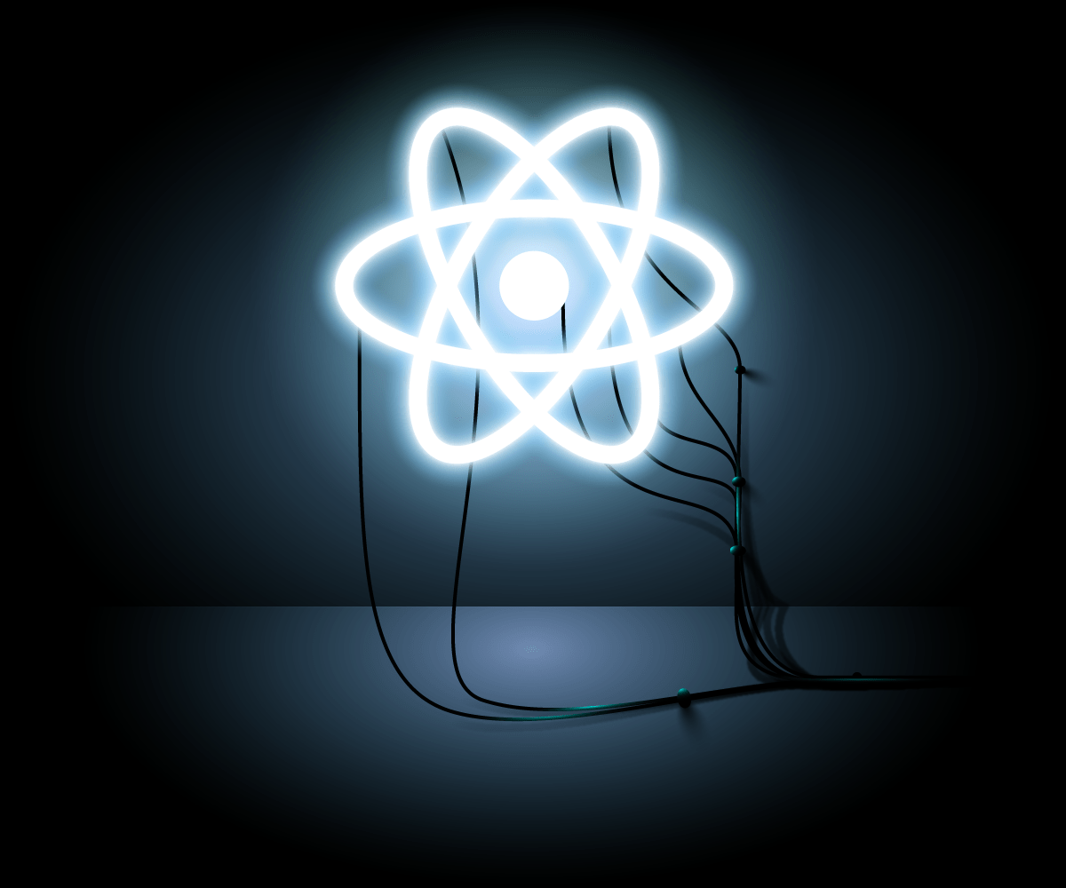 An LED React symbol attached to wires leading out of the photo