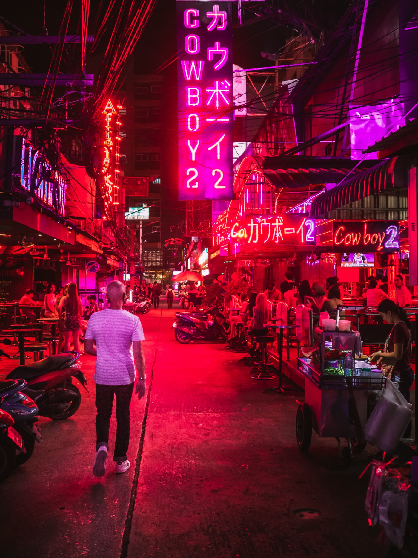 The red light district in some asian country where one could purchase sex either legally or in the grey area