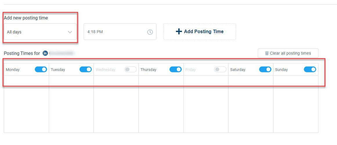 If you have selected articles in bulk to auto post on LinkedIn advanced queue settings will help you to set a timeline for them.