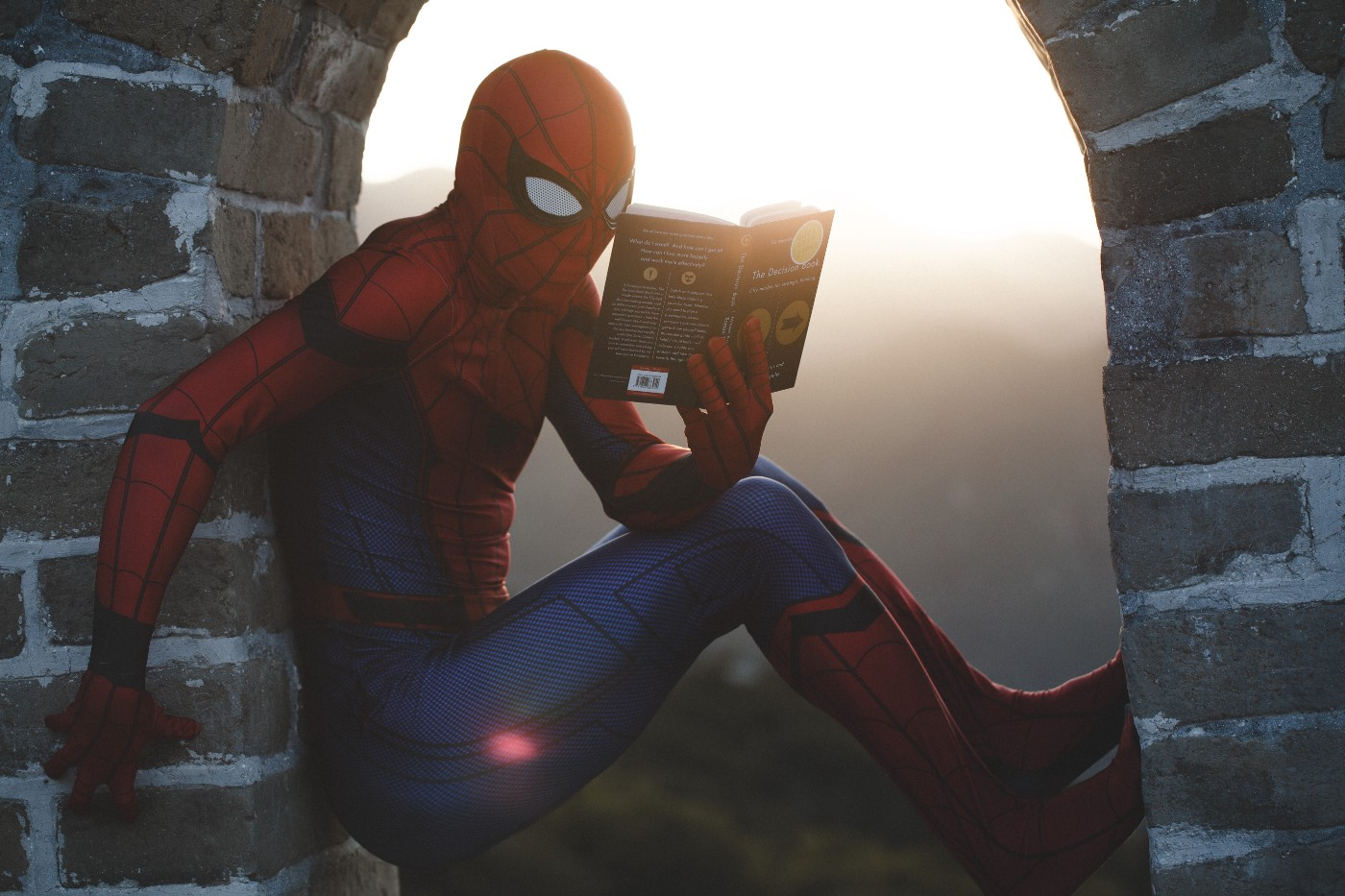 The image is that of superhero, spider man, sitting on wall reading a book.