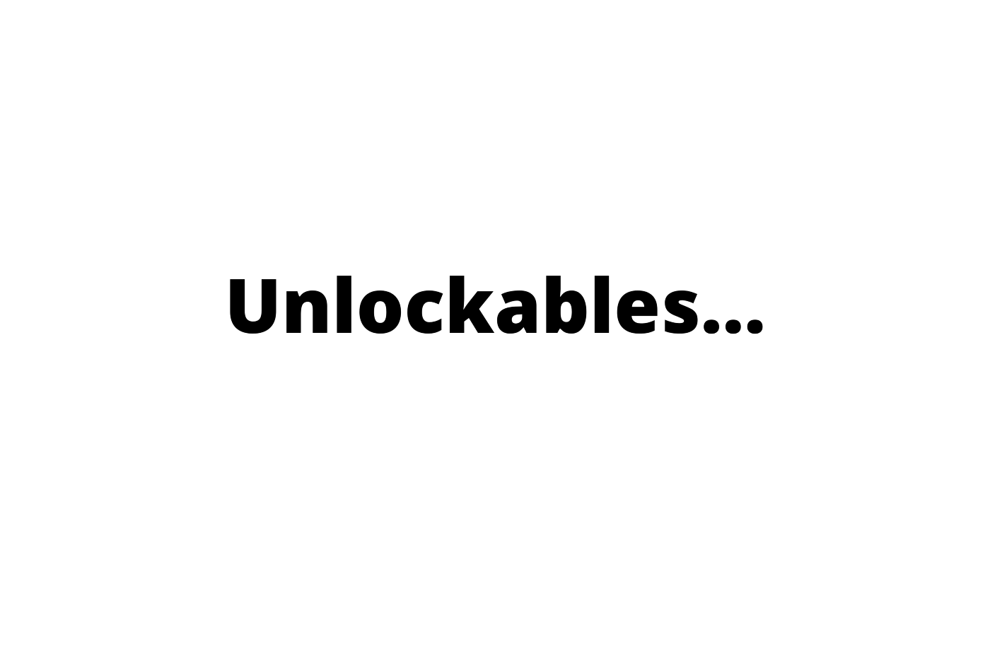A white background with the word, unlockables