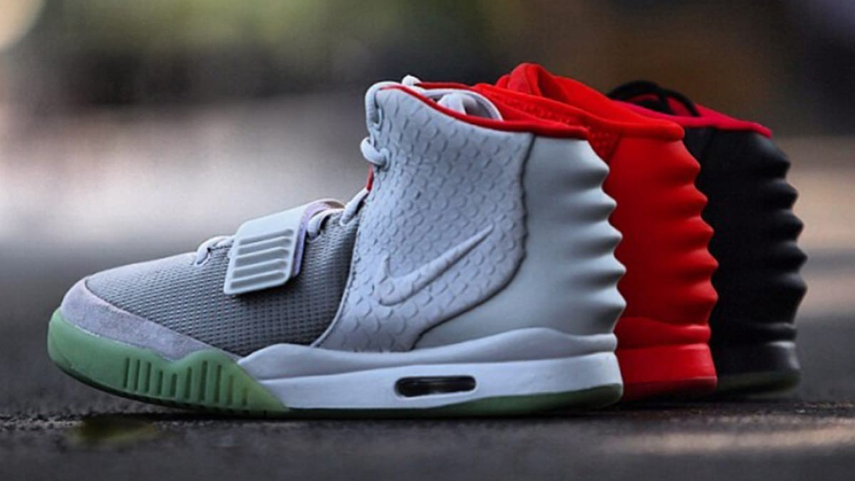"38980408 From left to right: the Nike Air Yeezy 2 ""Pure Platinum,"" ""Red October,""  and ""Solar Red."" The Plats and Solars released in 2012, while the Red  Octobers ..."