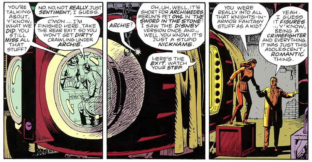 Three panels from Watchmen that have the same artwork spanning all three panels