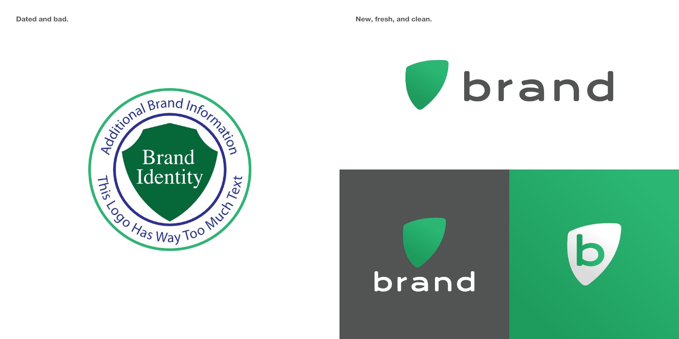 A set of images depicting a rebrand sheet. On the left is an old, dated, circular logo with a badge in the center.