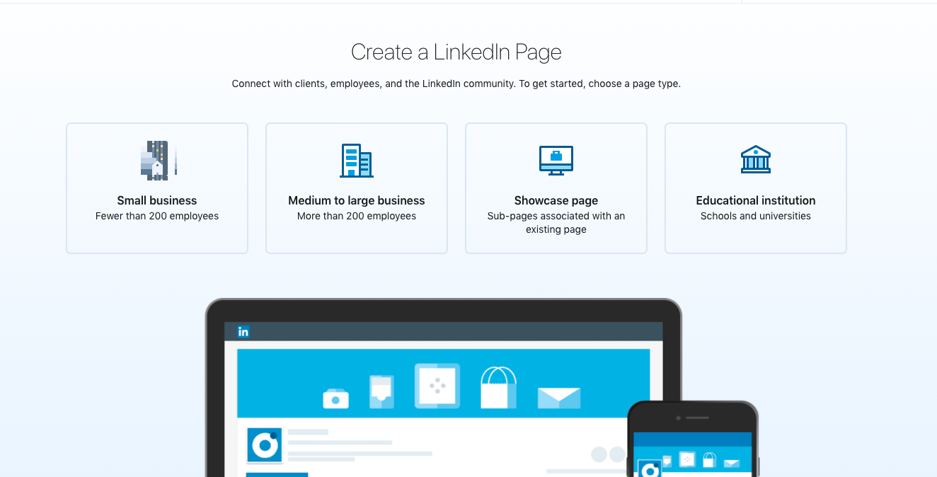 You can create a company page on LinkedIn in 4 different types