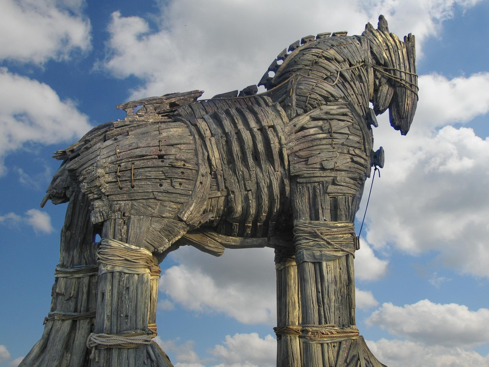 Wooden recreation of the Trojan horse
