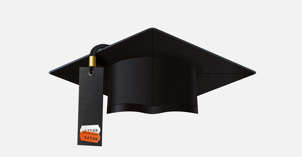 An isolated graduation cap on a light gray background; there's a price tag with a discount label instead of a tassel.