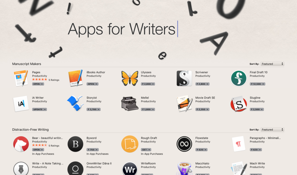 Apps for writers- image on Blog post by Amar Vyas