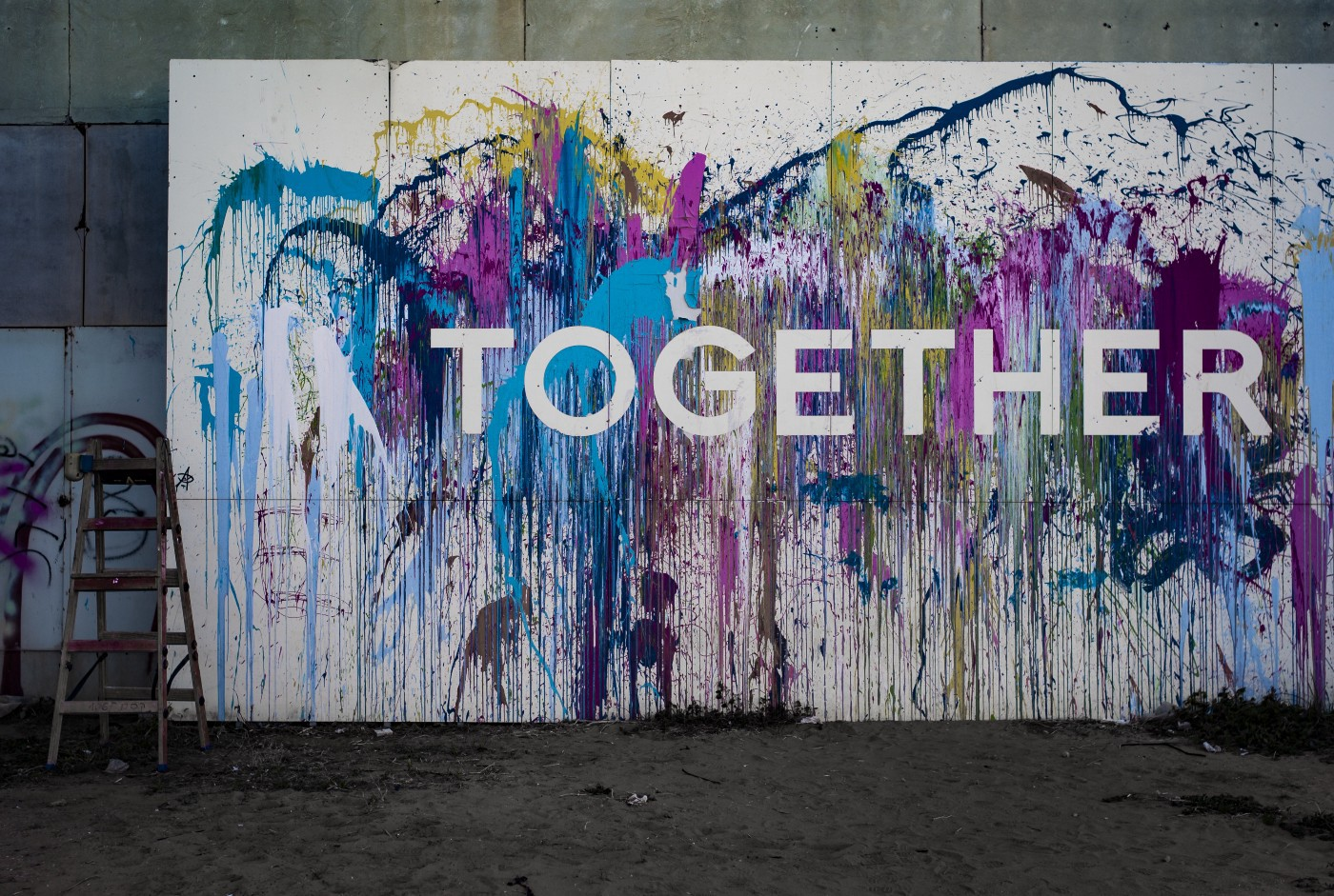 """Mural that says """"Together."""""""