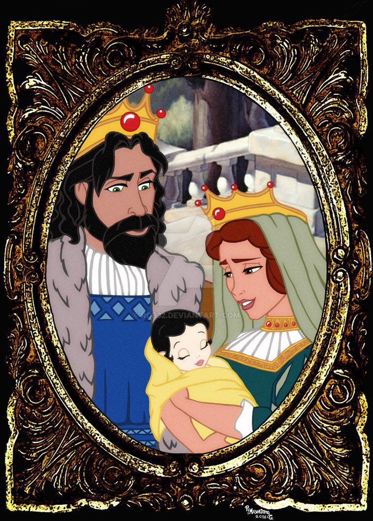 A king and queen hold their very white baby (literally, because it's from Snow White).