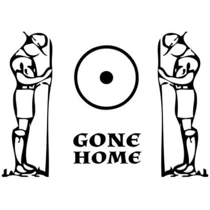 "The trail symbol for ""Gone Home"" flanked by figures of two Boy Scouts holding staves, their heads bowed."