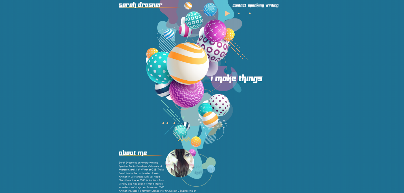 A screenshot of the homepage of a web developer/designer. It is very visually appealing, with colourful balloons