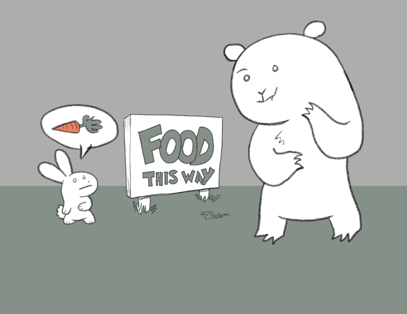 "A bear and a rabbit arrive at a sign that says ""food this way"" each might have something different in mind."