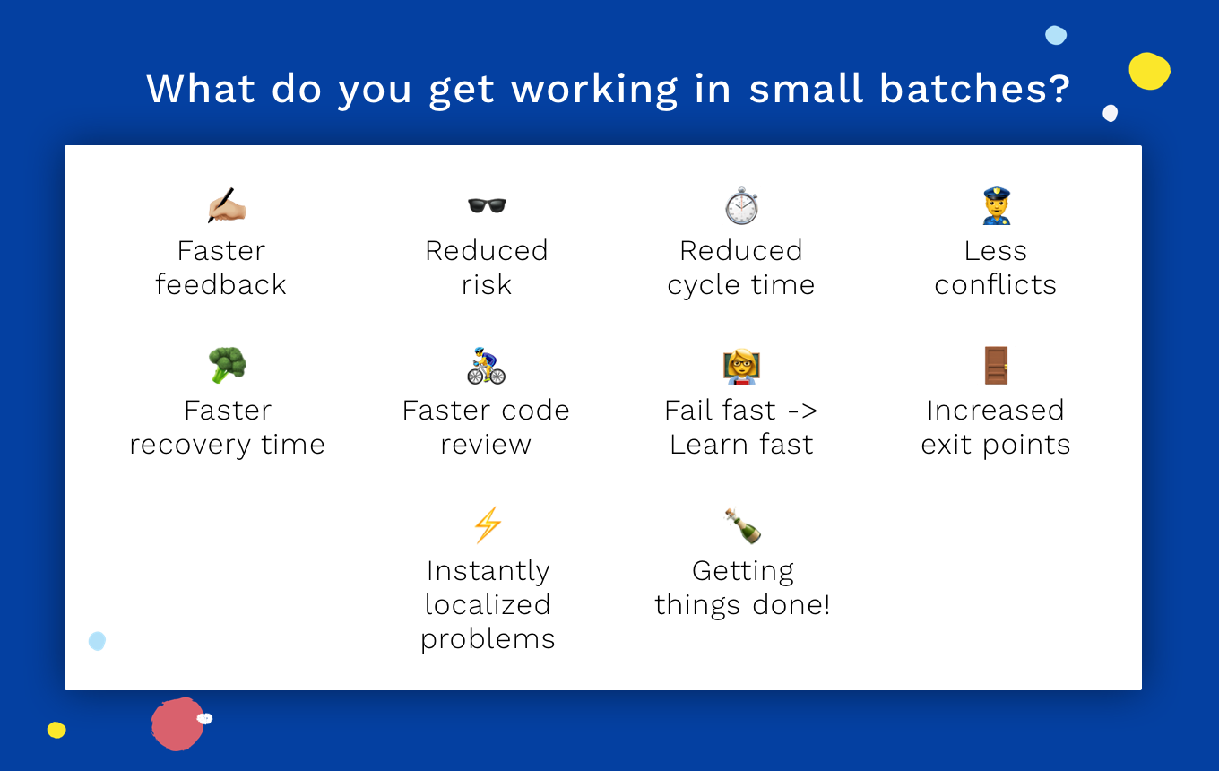 Benefits of working in small batches: faster feedback, reduced risk, faster code review, faster recovery time, and more.