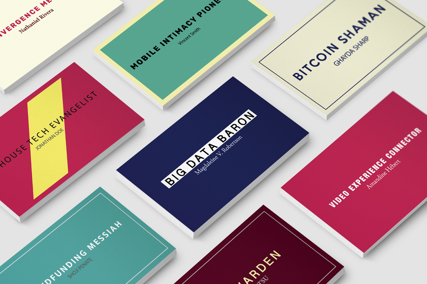 business cards with unusual job titles on them