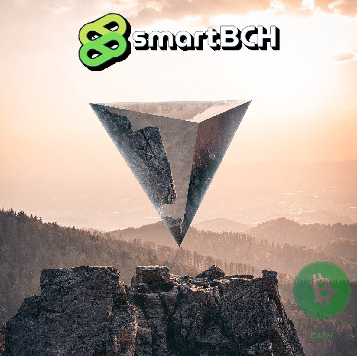 The image depicts a reverse glass pyramid on top of a rocky mountain with hills and the sun in the background. I have added the SmartBCH logo at the top of the image, and the BCH logo at the right bottom corner.