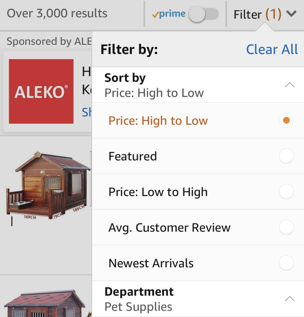 The filter on Amazon's mobile application provides the sort option as the top filter, and provides featured, low to high price, high to low price, average customer review (high to low) and newest arrivals, then gets into the other filters available.