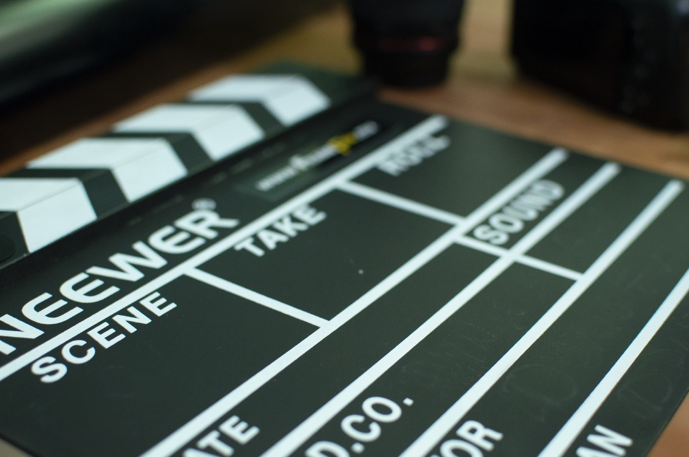 video clapper board used to record scene, take, and other production details