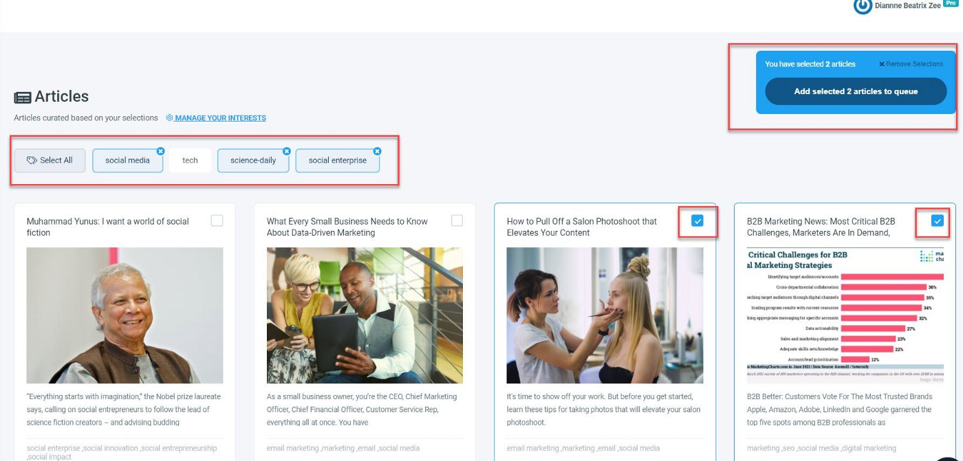 Check the boxes of your favorite articles and add to your post queue