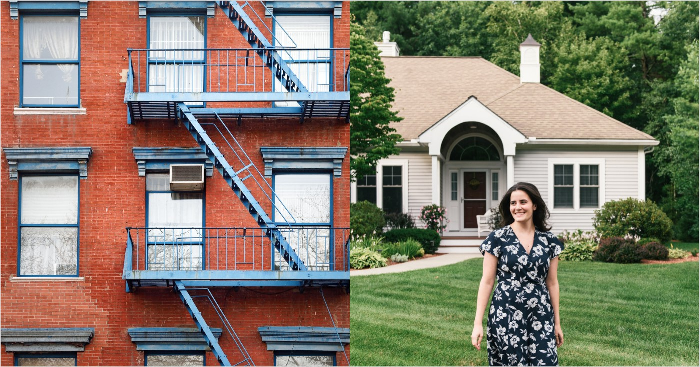 Image of an Brick Apartment Building Next to an Image of a Young woman in Front yard of House