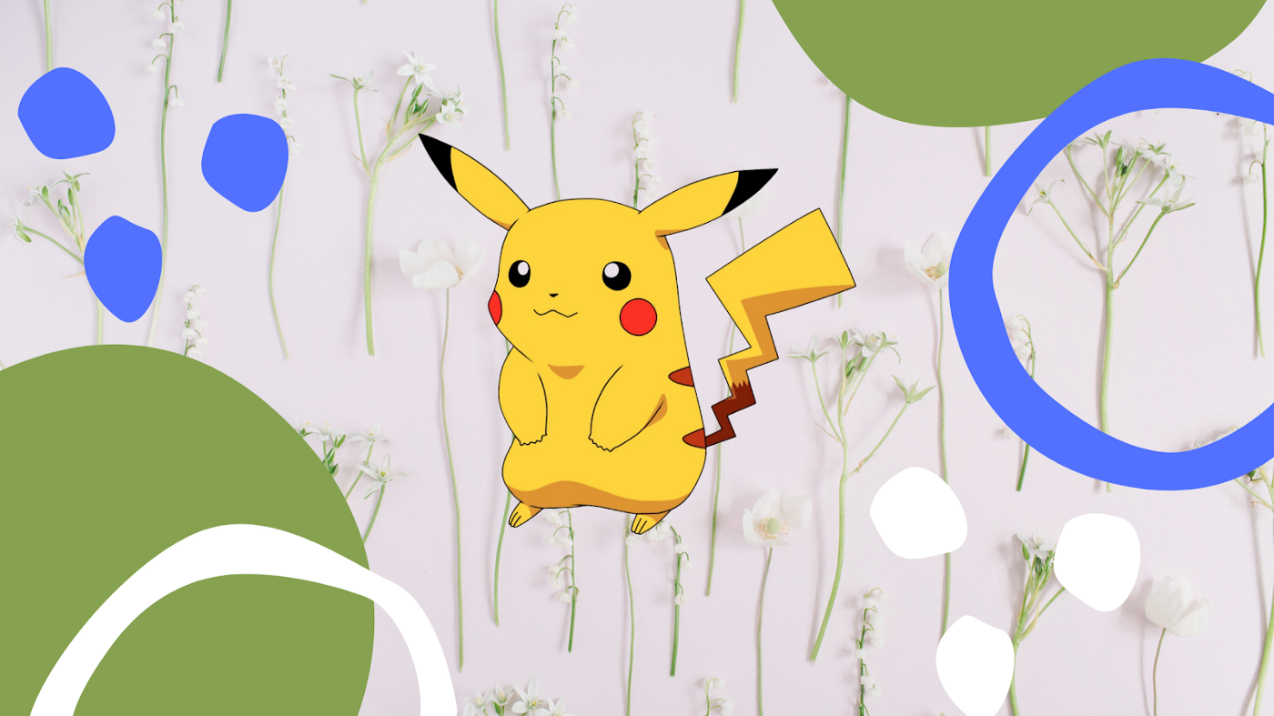 Graphic of a Pikachu among the flowers by author.