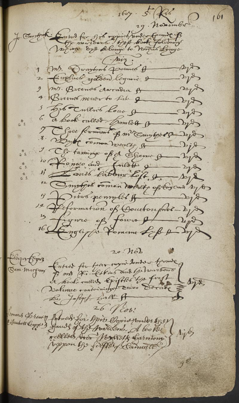 Stationers' Register entry for the transfer of Hamlet, The Taming of the Shrew, Romeo and Juliet, Love's Labor's Lost, and twelve other books in 1607.