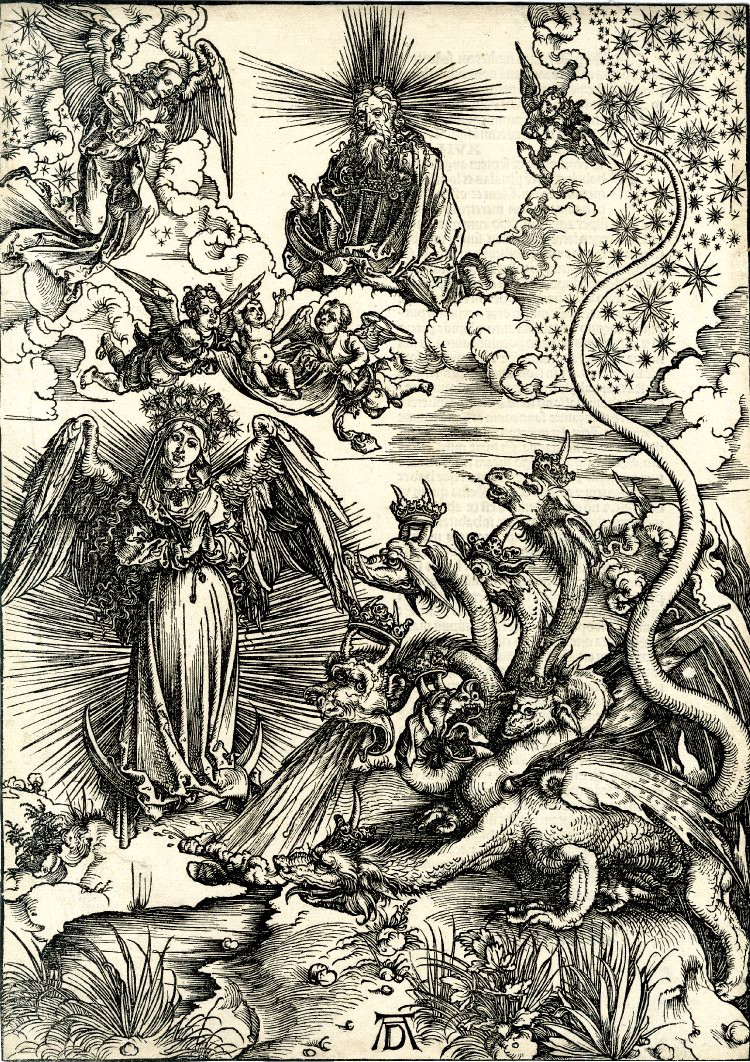 Engraving by Dürer showing angels and a seven-headed dragon.