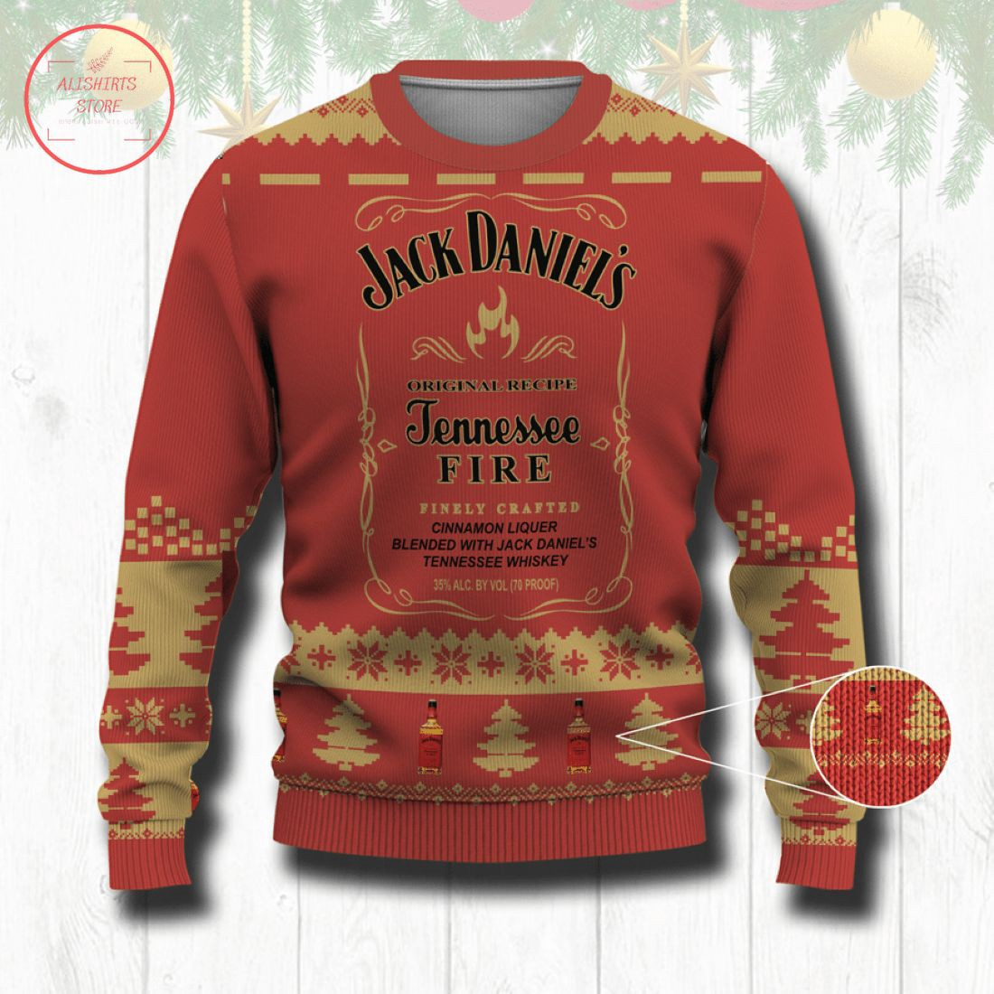 Tennesee Fire Whiskey Ugly Christmas Sweater