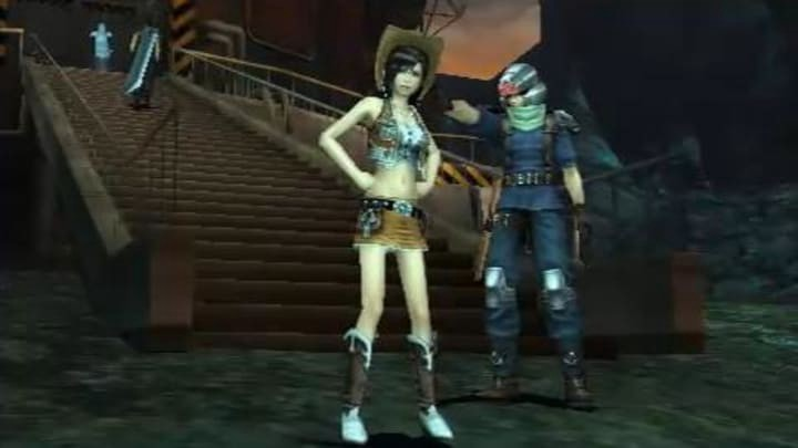 Teenage Tifa Lockhart in her cowgirl outfit stands with a member of SOLDIER