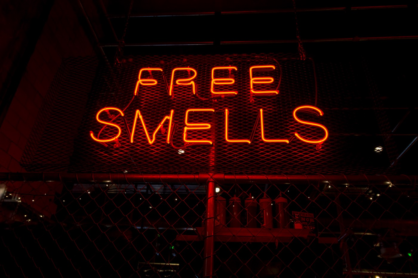 Bright signage advertising Free Smells