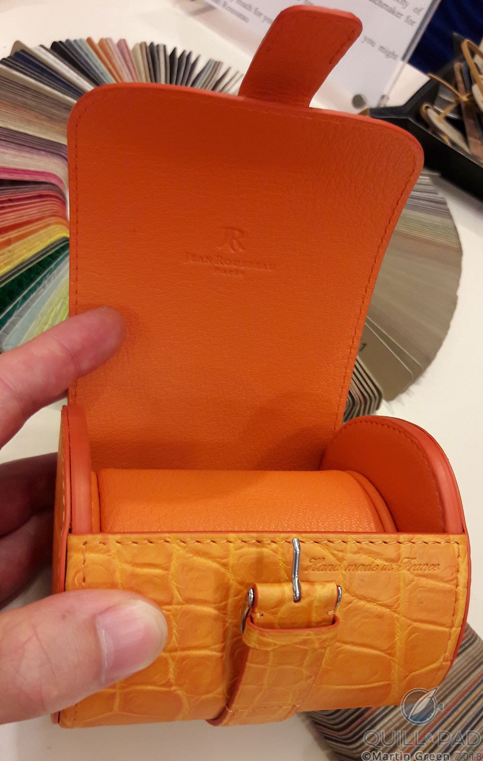 Leather watch case at Jean Rousseau, London