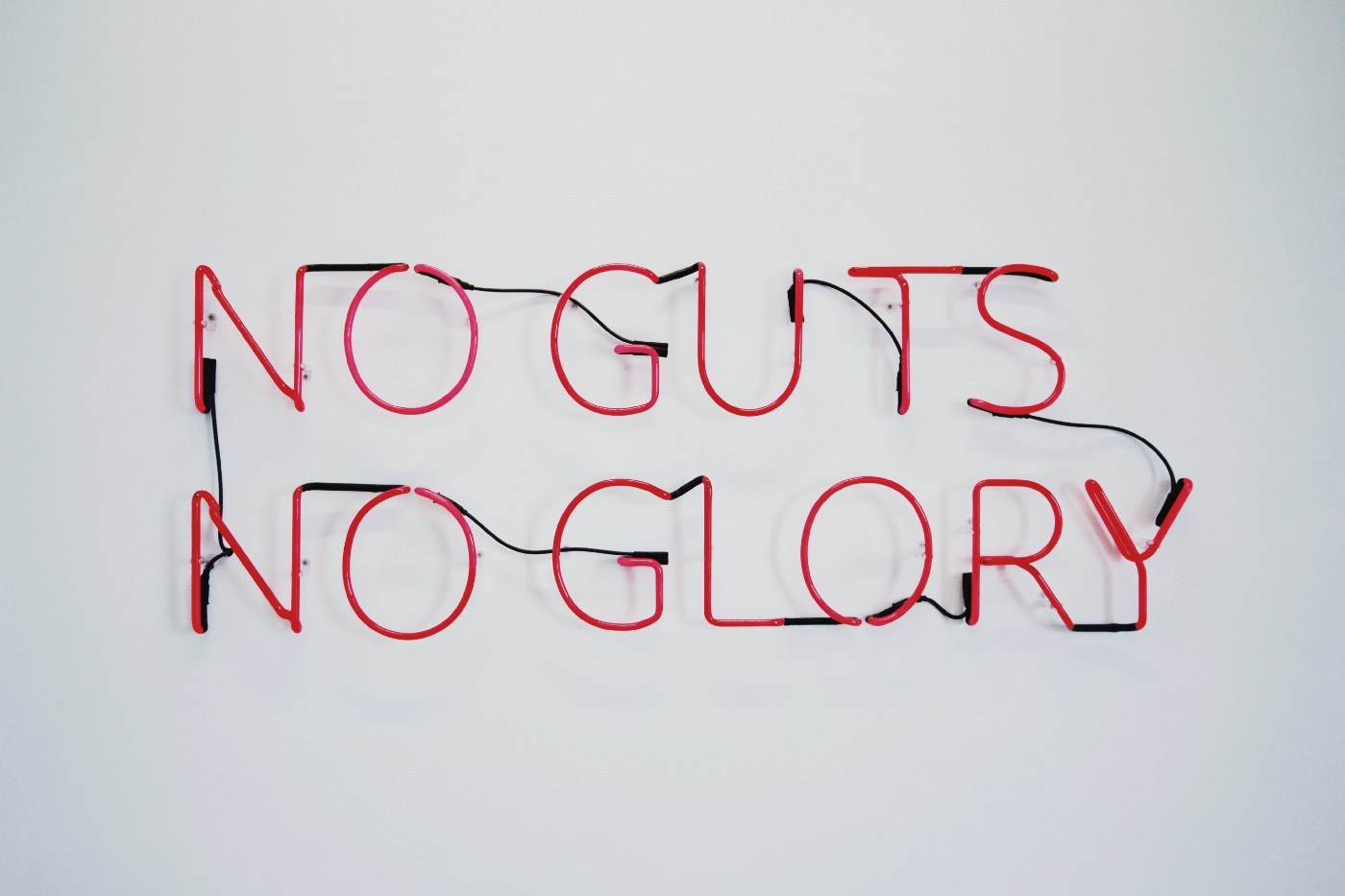 "Red neon sign: ""No guts, no glory"""