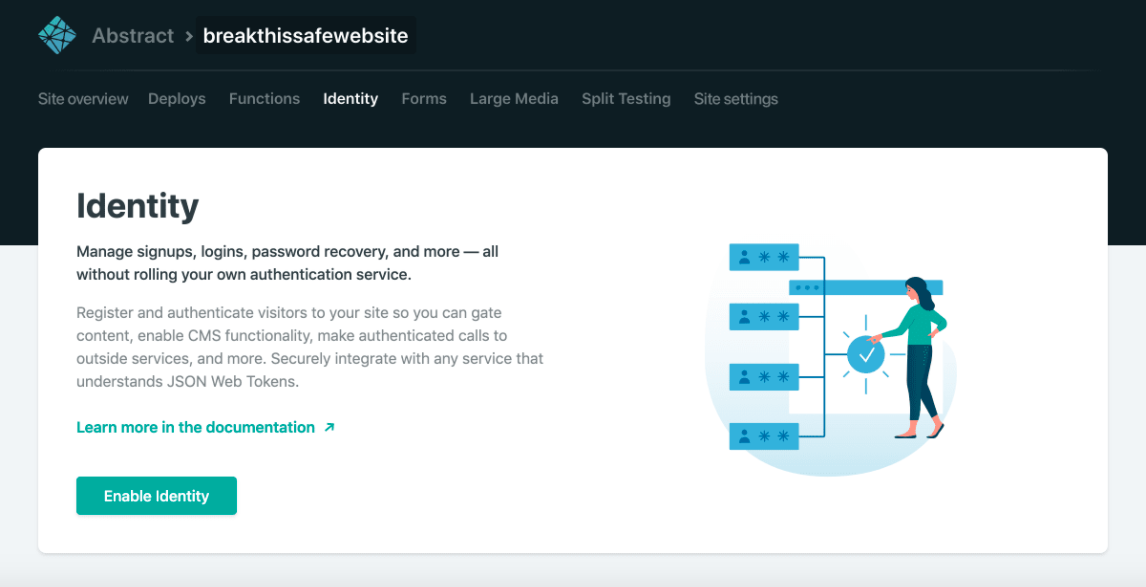Netlify console to enable the Identity
