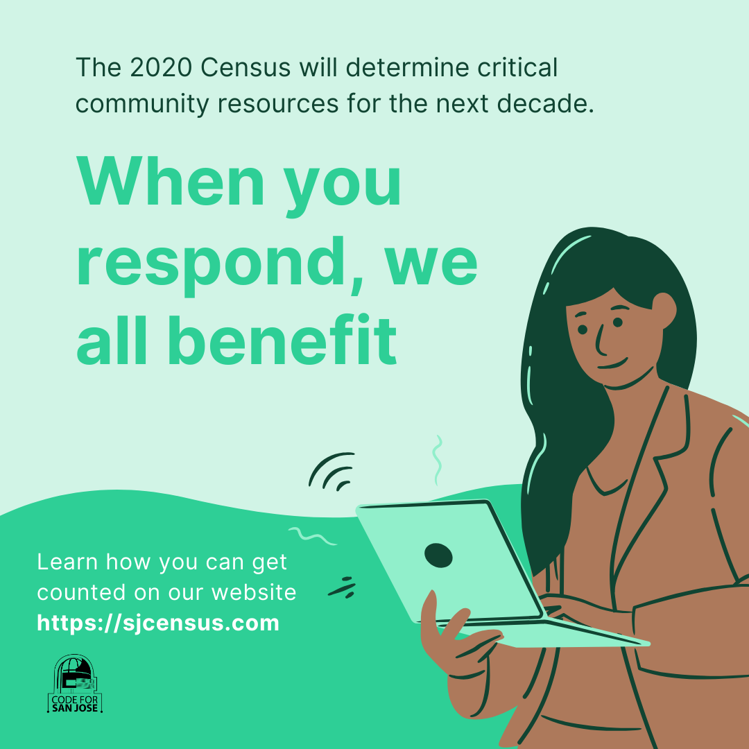 Flyer with text encouraging people to respond to the 2020 census.