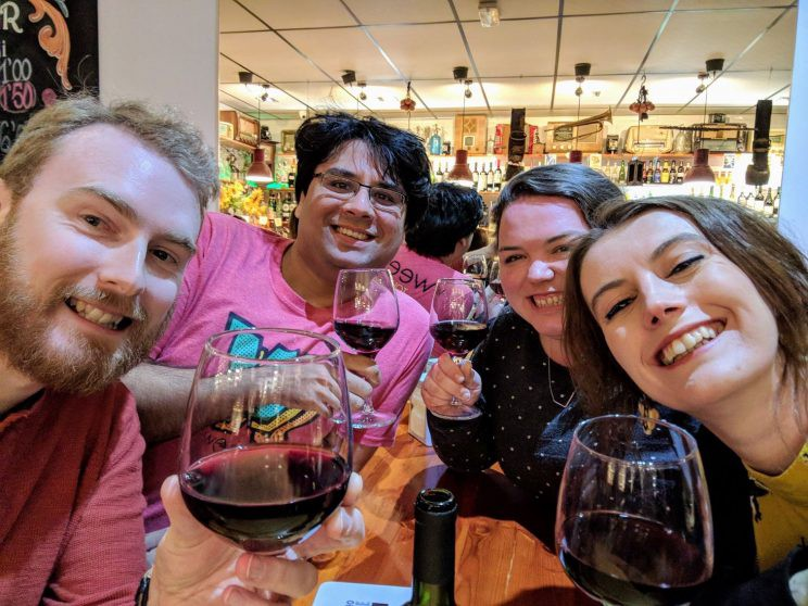 Us all in a wine bar
