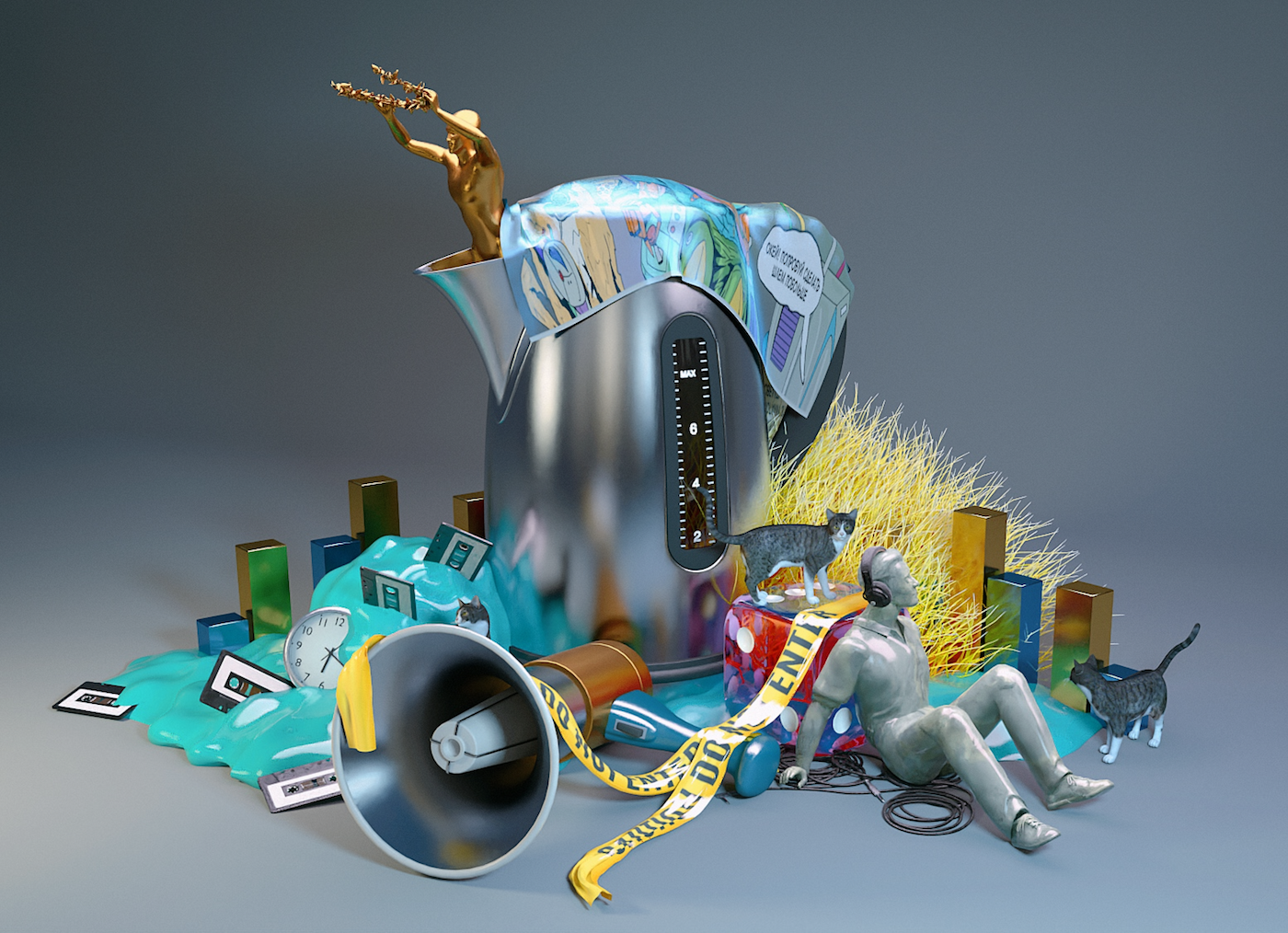 His work is always developing and adapting to the world around him. Today, his depictions mainly draw inspiration from surrealist 3D arrangements with subtle features in homage to renowned artists and movements of the past. (Work: Pixelord)