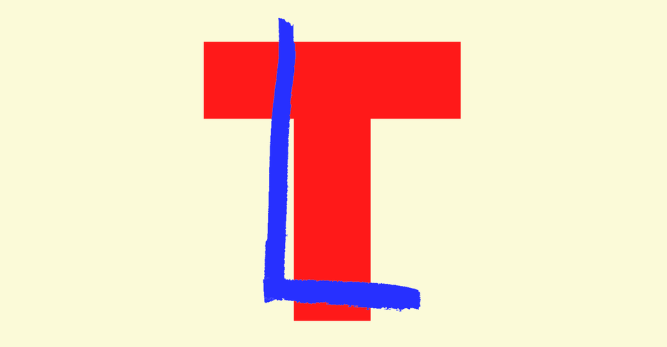 "A blocky red letter ""T"" with a blue ""L"" superimposed on it."