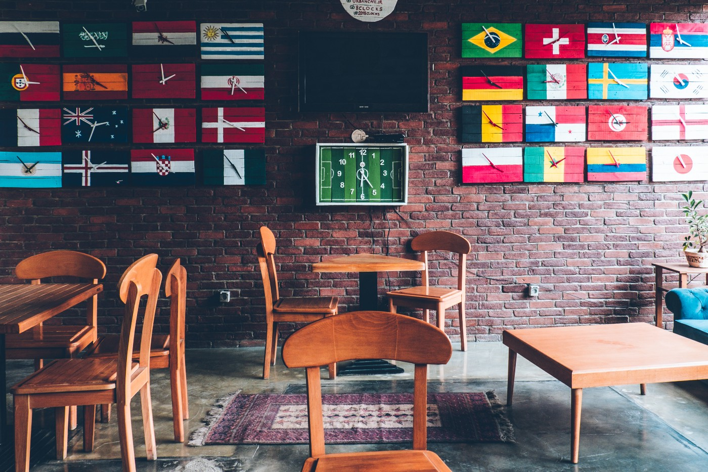 A classroom full of flags